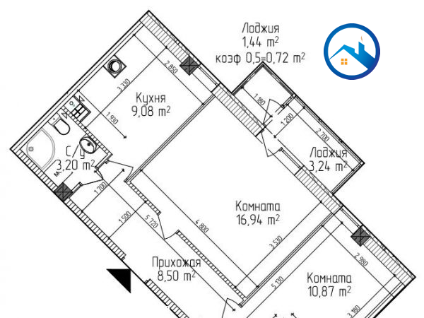 Продажа 2-комнатной квартиры, Симферополь, ул. Батурина